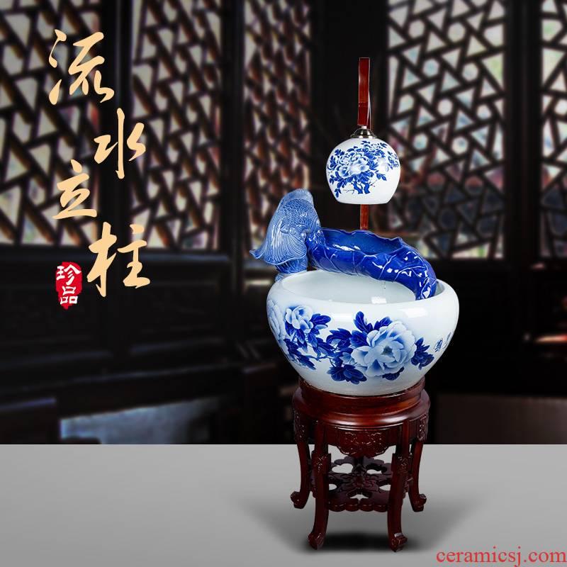 Jingdezhen ceramic aquarium water spray atomization with lamp filter tank goldfish bowl sitting room adornment small place