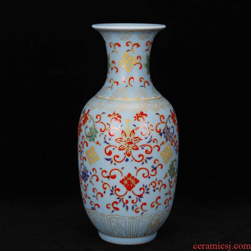 Jingdezhen imitation of the qing dynasty antique antique old goods flower grain vases, ancient Chinese style restoring ancient ways is sitting room ark of desk furnishing articles