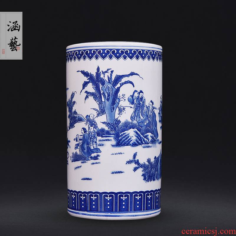 Jingdezhen blue and white ceramics xiangshan nine old straight bottle of new Chinese style furnishing articles sitting room porch decorate craft gift