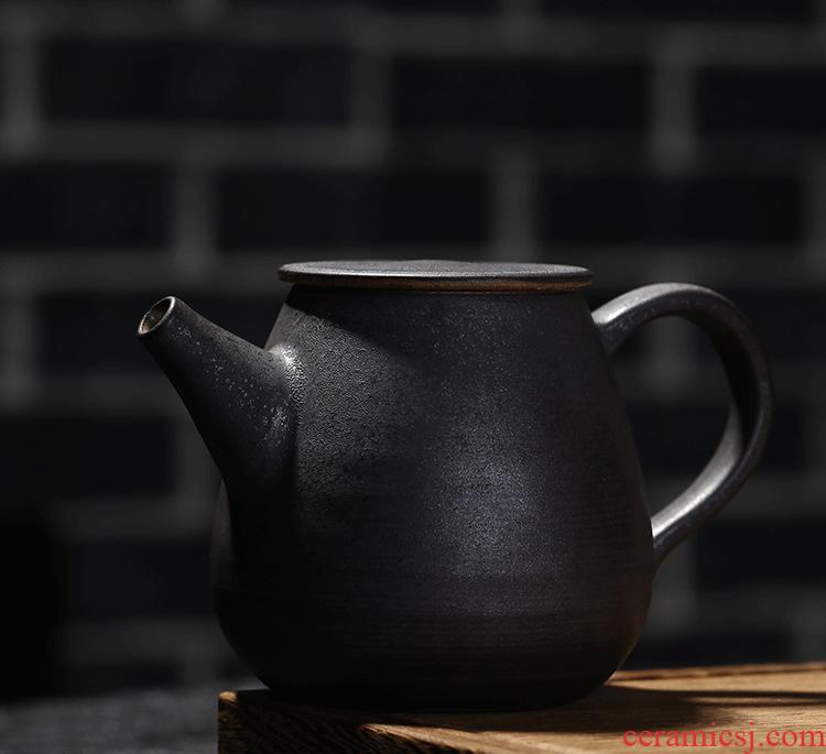 Jingdezhen your up coarse pottery black little teapot single pot teapot with kung fu tea hand grasp pot home teapot