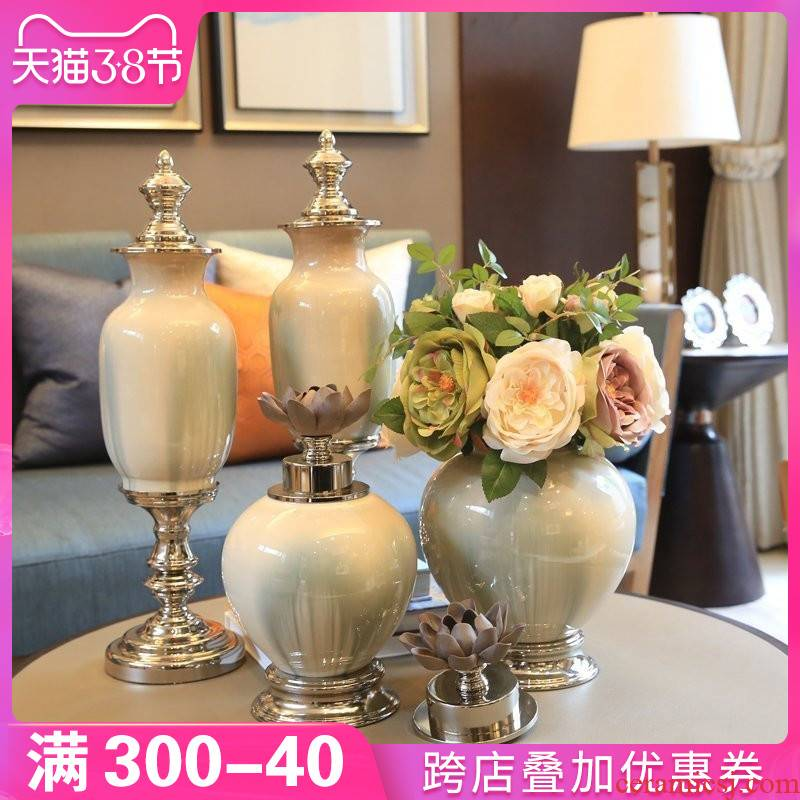The New Chinese vases, ceramic furnishing articles household act the role ofing is tasted European living room TV cabinet table decorations porch desktop decoration
