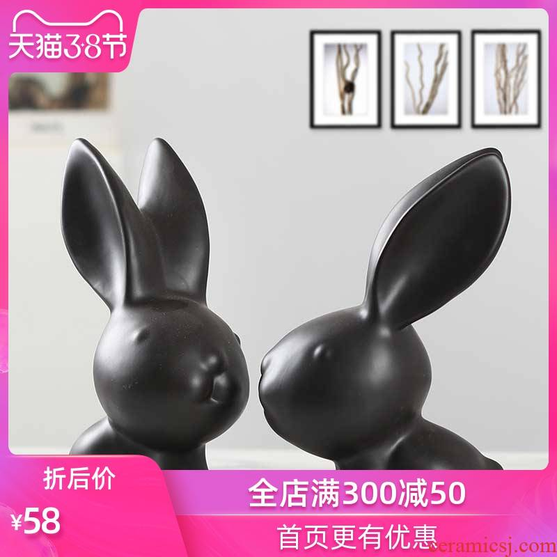 Modern household adornment ark, creative craft gift porcelain rabbit sitting room office desktop small ornament furnishing articles