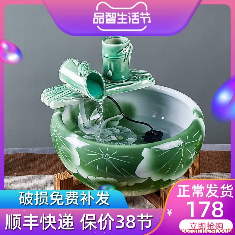 Jingdezhen ceramic aquarium sitting room small fountain automatic cycle now rising water feng shui goldfish bowl