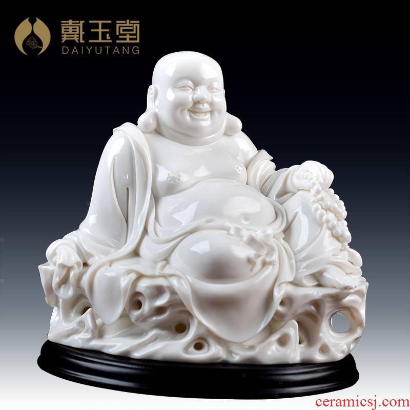 Masters of yutang dai Lin Luyang white marble porcelain penjing collection/8 inches at ease maitreya D01-012