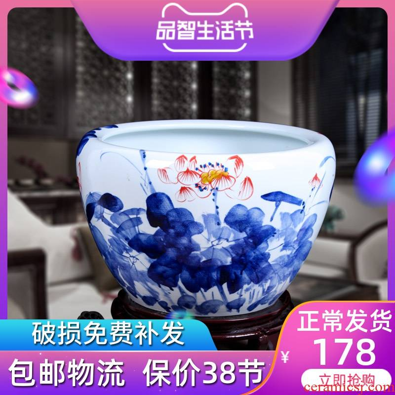 Jingdezhen ceramic aquarium goldfish bowl big sitting room aquarium brocade carp landing cylinder water lily GangPen fish bowl