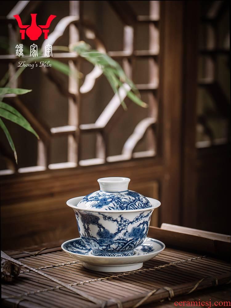 Tureen single clock home up jingdezhen blue and white Tureen large pure manual maintain shochiku name plum tea bowl three cups