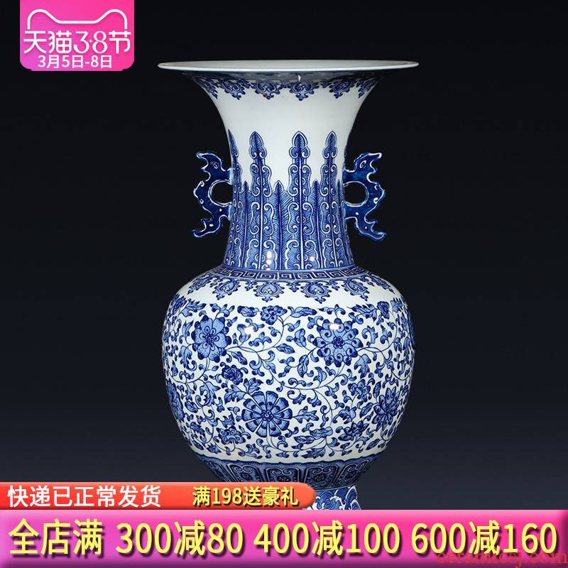 Jingdezhen blue and white ears imitation qianlong hand - made ceramics vase Chinese ancient frame sitting room adornment is placed