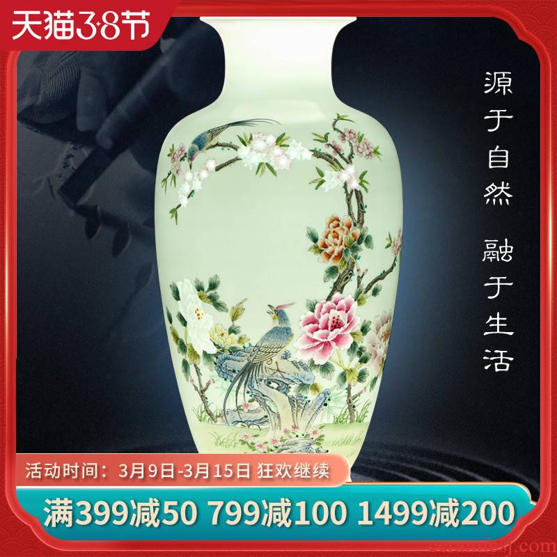 Jingdezhen ceramics flower adornment furnishing articles hand - made pastel notes tong wealth vase Chinese arts and crafts sitting room