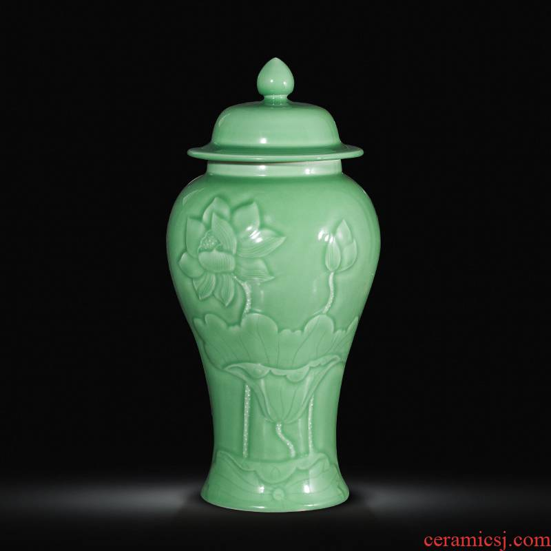 Jingdezhen ceramics antique vase manual carve shadow green rich ancient frame wine sitting room adornment home furnishing articles