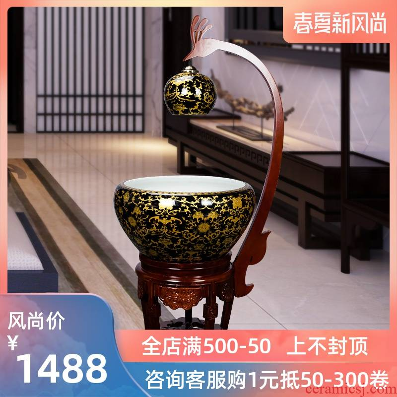 Jingdezhen ceramic aquarium home sitting room aquarium water feng shui plutus furnishing articles filtration cycle of the spray water fish