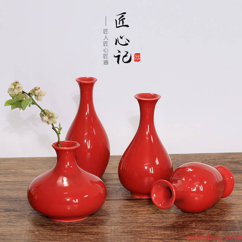 The new Chinese red porcelain vase sitting room place dry flower arranging flowers red flower implement way glass knot floret bottle for Buddha