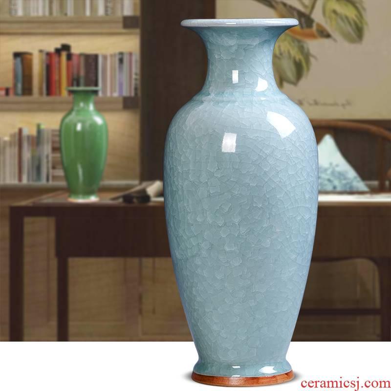 Jingdezhen ceramics archaize crack jun porcelain glaze borneol flower vase household XuanGuang sitting room adornment is placed