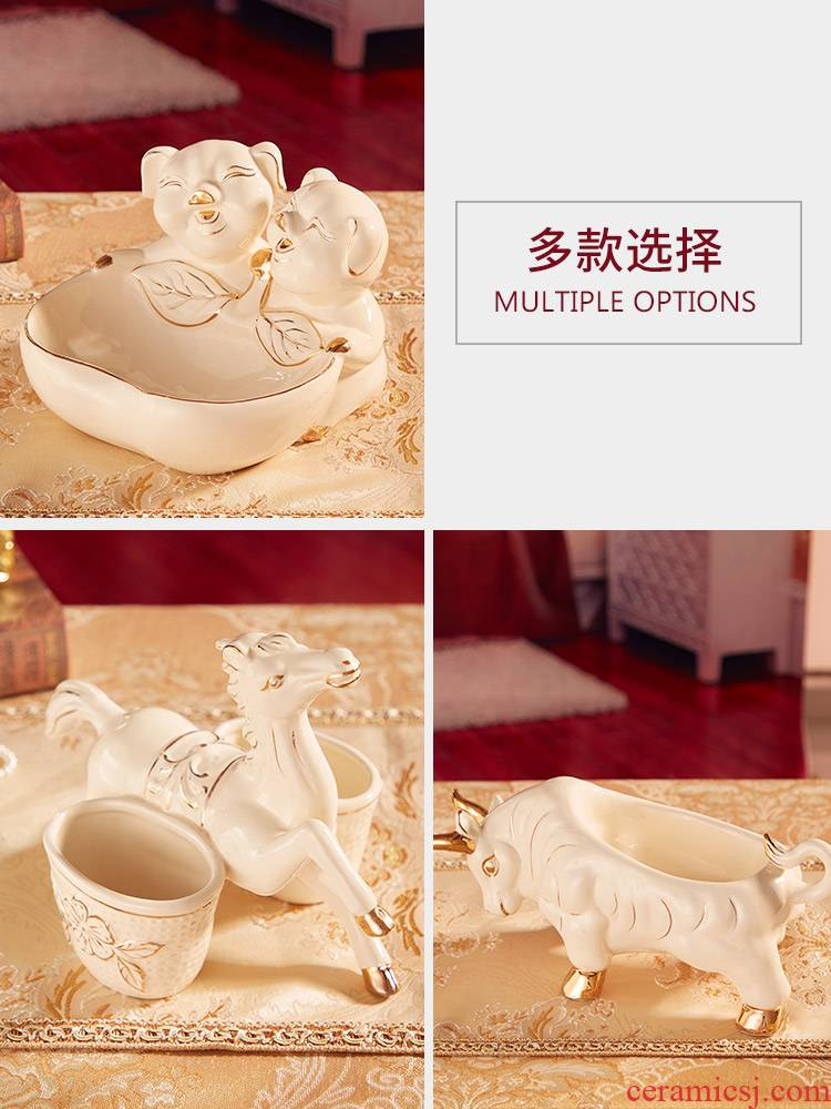 Ou porch ceramics that take key feel to receive a furnishing articles at the gate of home desktop receive box of deer horse cattle pig furnishing articles