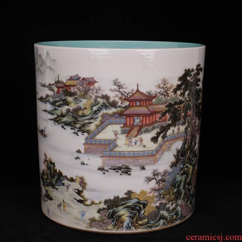 Archaize of jingdezhen porcelain castle in the qianlong pastel landscape big brush pot pen sea four desk of Chinese style household furnishing articles