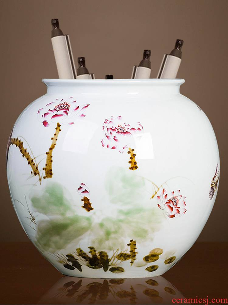 Hand made lotus painting and calligraphy cylinder up jingdezhen ceramics is increasing in vases, flower arranging furnishing articles Chinese style living room floor decoration