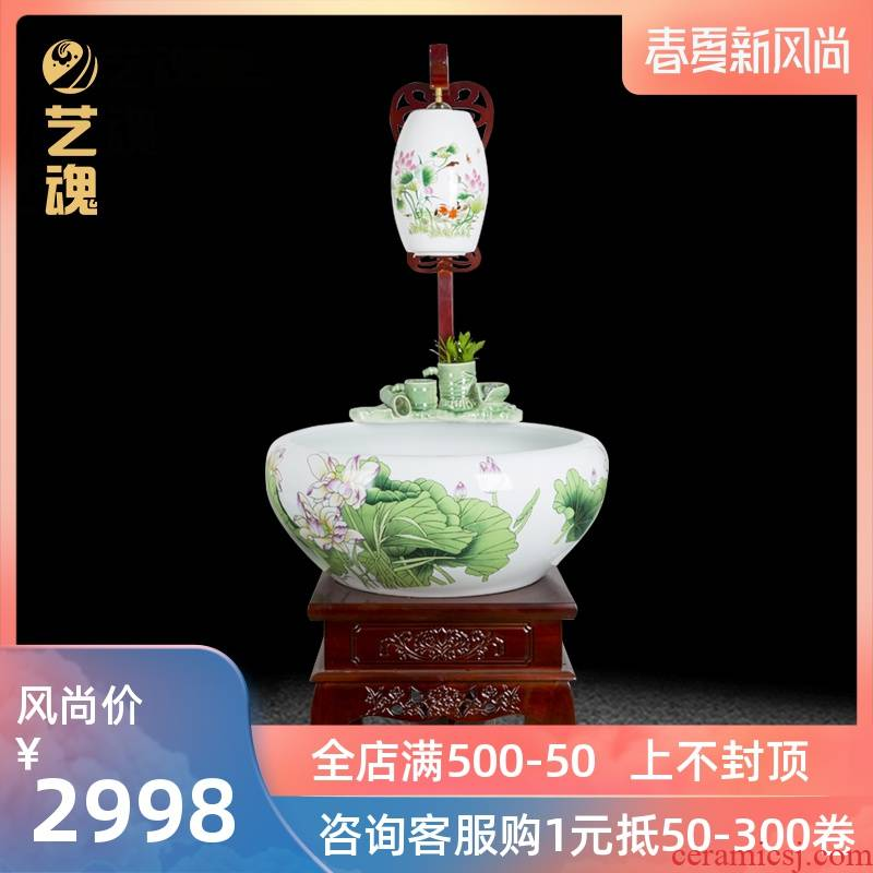 Super - large jingdezhen Chinese ceramic aquarium fish basin circulation filter water goldfish bowl is a sitting room home with lamp