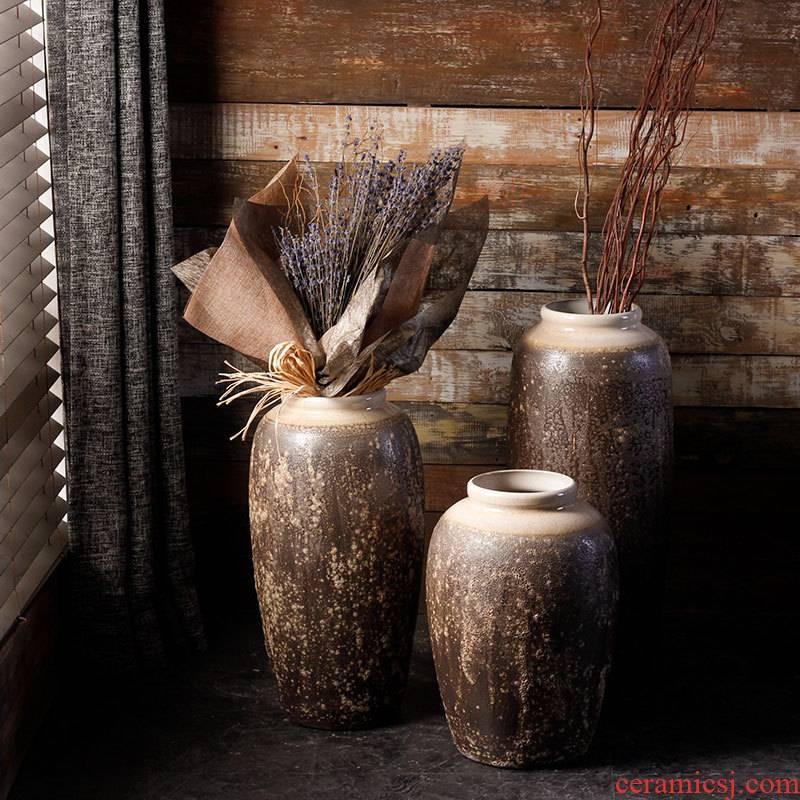 Jingdezhen ceramic vase landing craft coarse dry flower, flower implement some ceramic jar jar sitting room big flowerpot flower arranging furnishing articles