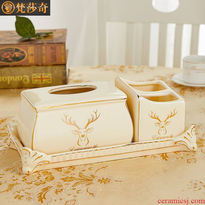 European household multifunctional sitting room adornment tissue box receive a case creative pick a ceramic paper carton box remote control
