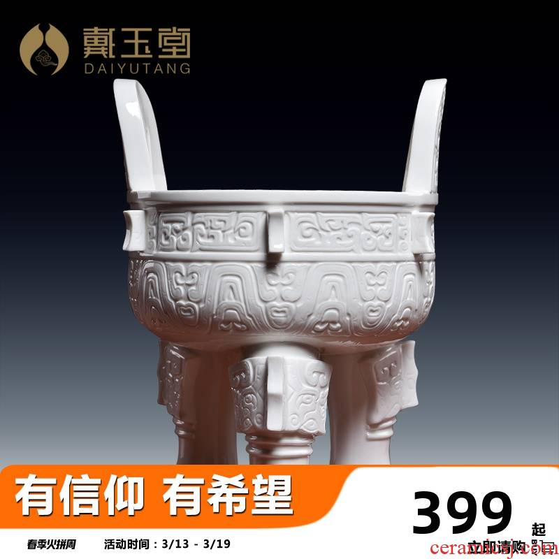 Yutang dai household ceramics burn incense buner for Buddha temple consecrate Buddha with supplies indoor incense seat insert/big ding furnace