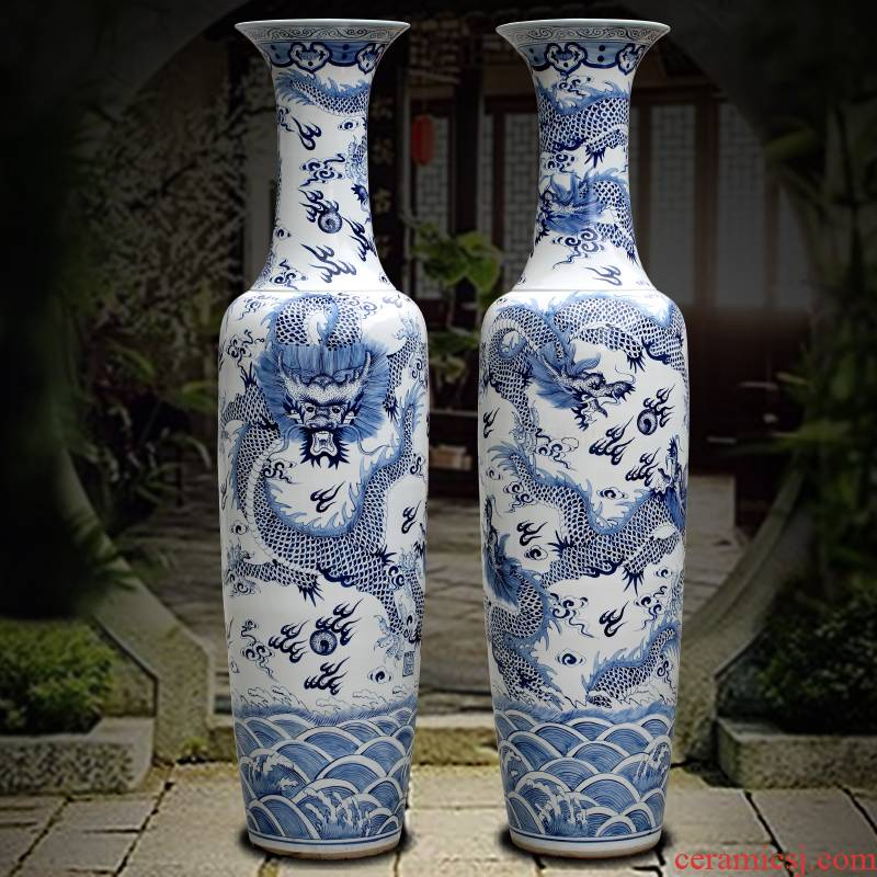 Jingdezhen ceramics dragon big sitting room be born blue and white porcelain vase furnishing articles company hotel opening gifts