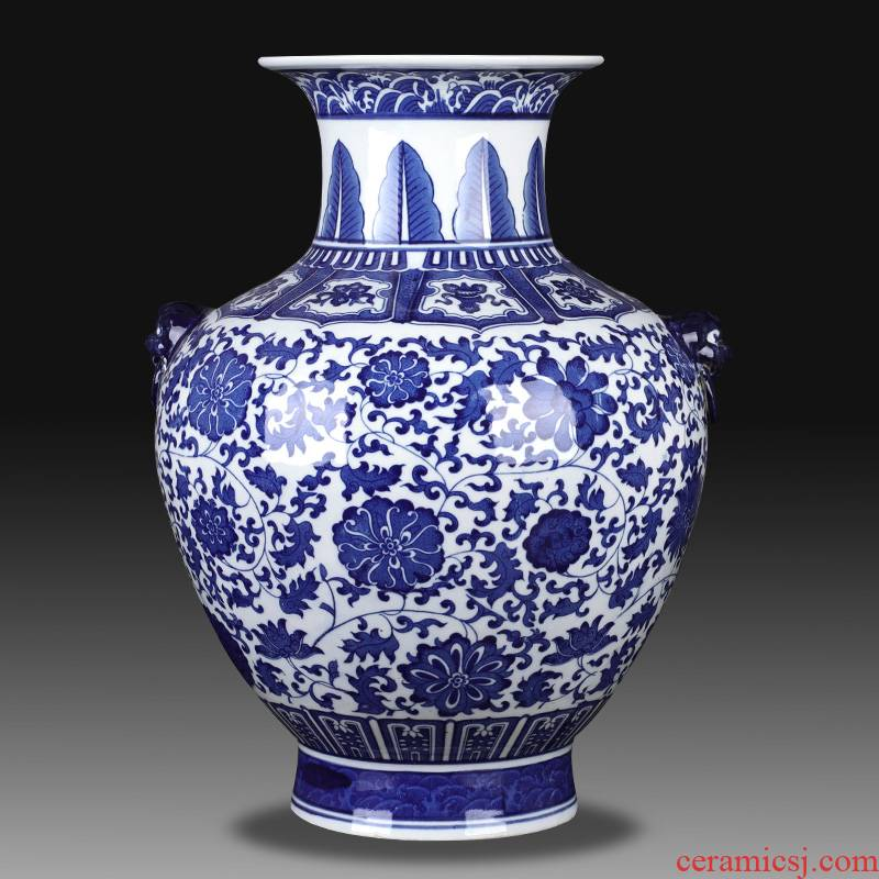 Blue and white porcelain of jingdezhen ceramics bound lotus flower ocean 's ears big vase archaize sitting room porch place decoration