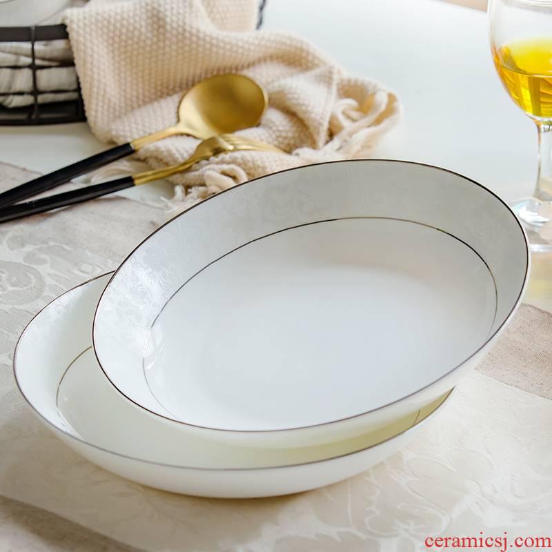 Dish Dish plate household circular creative ceramic plate FanPan western Dish Chinese ipads porcelain tableware suit