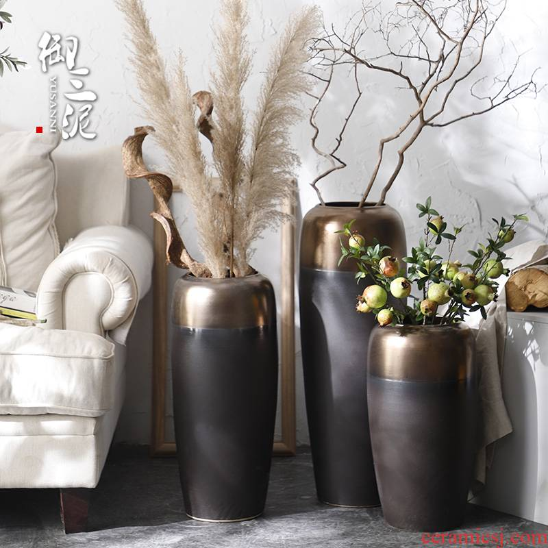 I and contracted Nordic dried flower vase landing light wind key-2 luxury industry big ceramic flower, flower arranging furnishing articles sitting room adornment