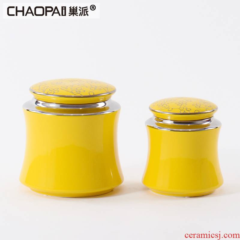New Chinese style classic yellow ceramic pot is placed between example indoor rich ancient frame porch partition storage bottle decoration
