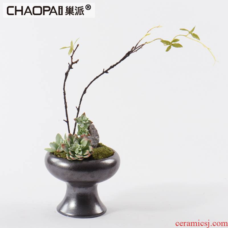 I and contracted simulation fleshy potted bonsai furnishing articles of Chinese style classic ceramic flowers floral suit soft adornment