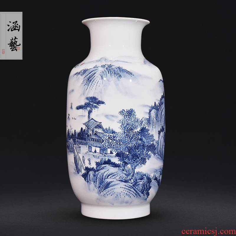 Jingdezhen ceramic hand - made porcelain spring Jiang Liushui vases, flower arrangement sitting room adornment handicraft furnishing articles of Chinese style household