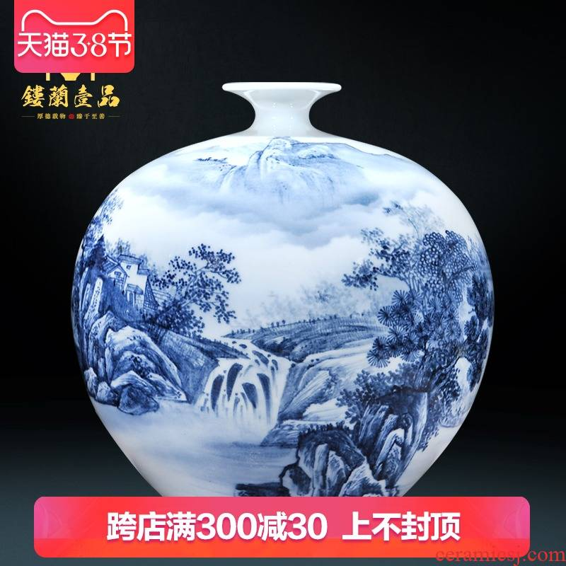 Hand - made dry flower vases, new Chinese style living room sofa of blue and white porcelain of jingdezhen ceramics TV ark adornment furnishing articles
