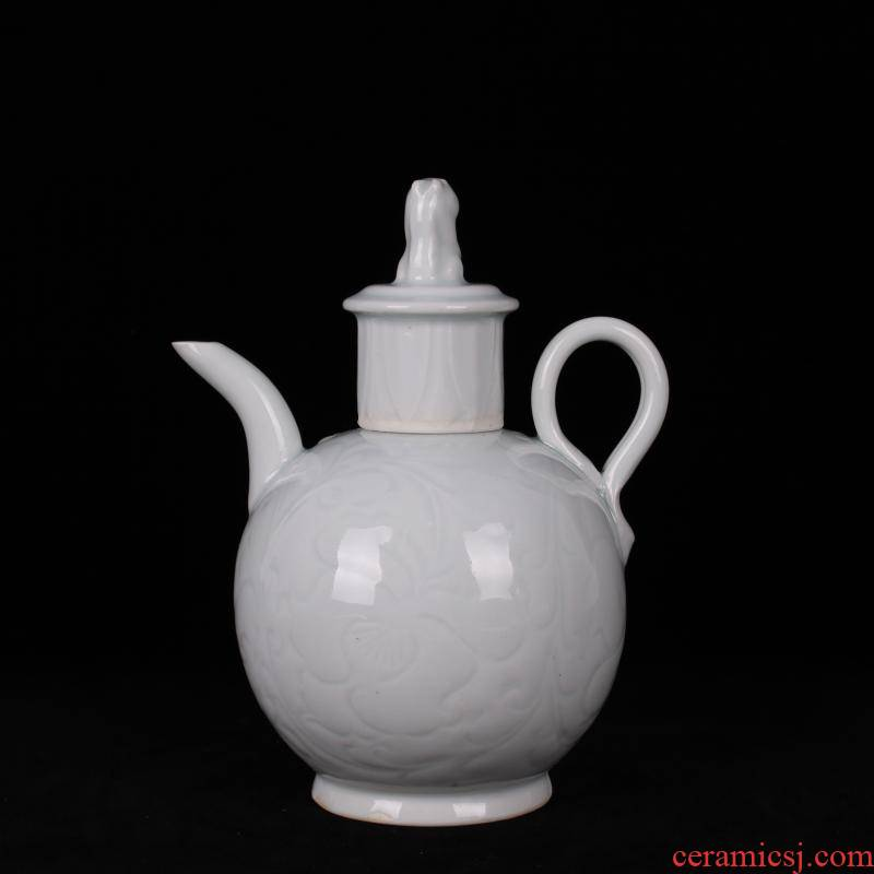 Jingdezhen ceramics imitation song dynasty style typeface left up green jade carved the teapot tea canister antique reproduction antique handicrafts