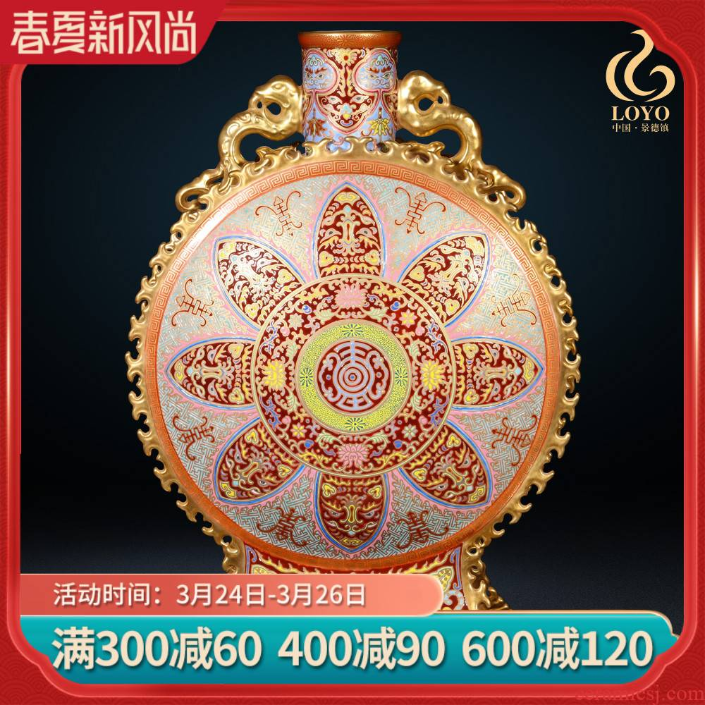 Jingdezhen ceramics hand - made antique vase colored enamel paint on Chinese arts and crafts home furnishing articles in the living room