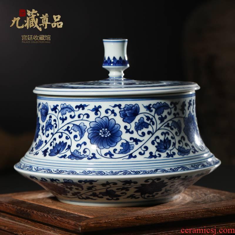 Jingdezhen ceramics imitation the qing kangxi with hand - made porcelain lotus flower tea pot sitting room home decoration furnishing articles