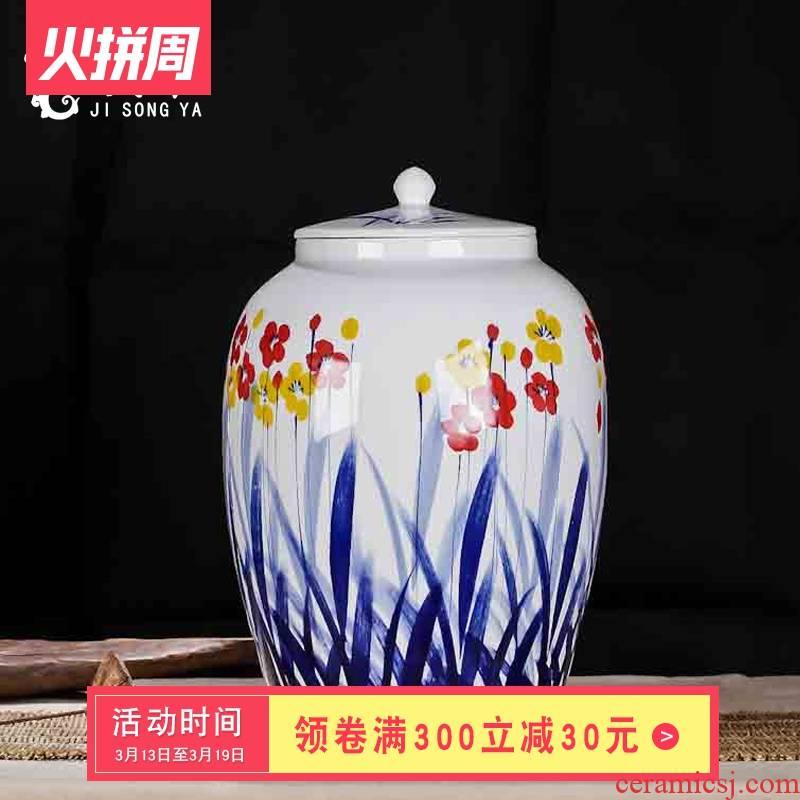 Ceramic storage barrel 50 kg cylinder with cover ricer box store meter box 25 kg storage tank of jingdezhen fermentation cylinder barrels of tea