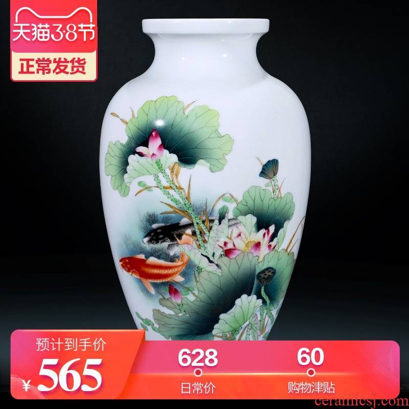 Jingdezhen ceramics hand - made flower vase of new Chinese style household living room TV cabinet craft decoration wedding furnishing articles