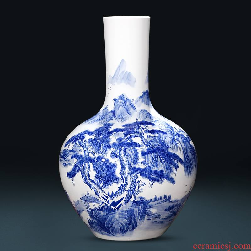 Jingdezhen ceramics antique Chinese classical landscape painting large blue and white porcelain vase flower arrangement sitting room adornment is placed