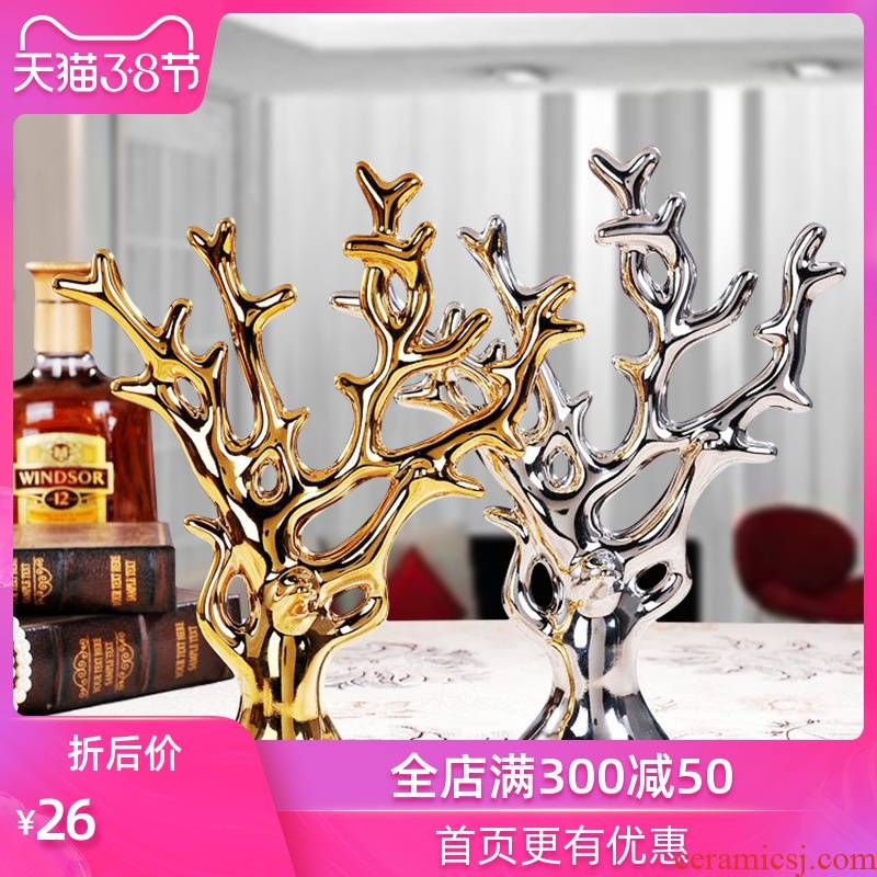 Ceramic crafts creative furnishing articles sitting room TV cabinet decoration wedding gift of gold and silver rich tree small ornament