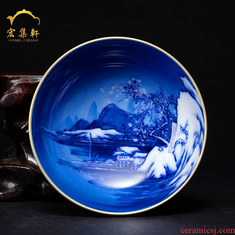 Jingdezhen kung fu tea cups master cup cup single cup sample tea cup hand - made paint snow blue and white porcelain cup