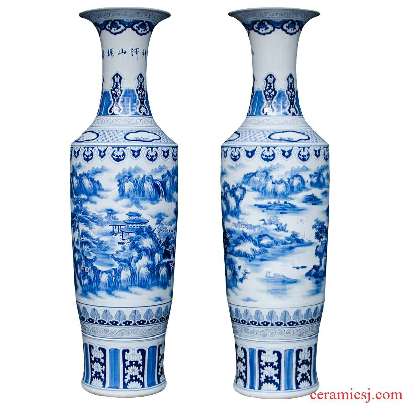 Jingdezhen ceramic hand - made furnishing articles of large blue and white porcelain vase splendid sunvo sitting room adornment handicraft decoration