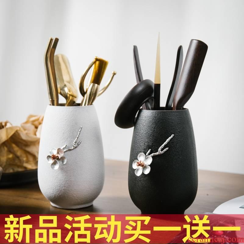 Ceramic tea six gentleman ebony kung fu tea sets accessories pure copper ChaGa tea spoon tea place of zero