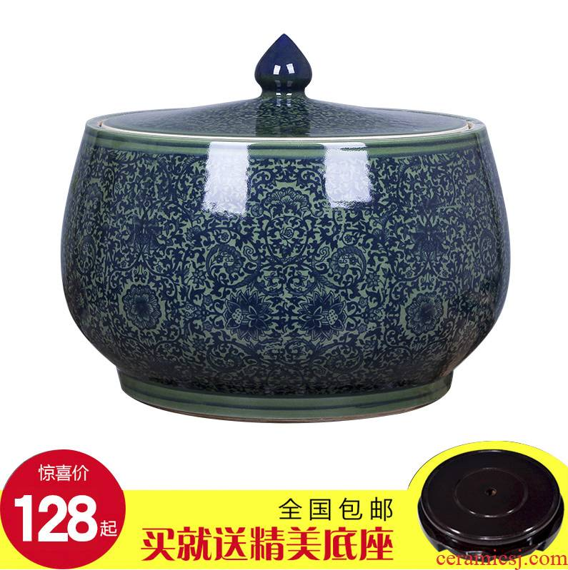 Art spirit of jingdezhen ceramic barrel ricer box store meter box 20 jins 30 jins with cover tank cylinder storage tank