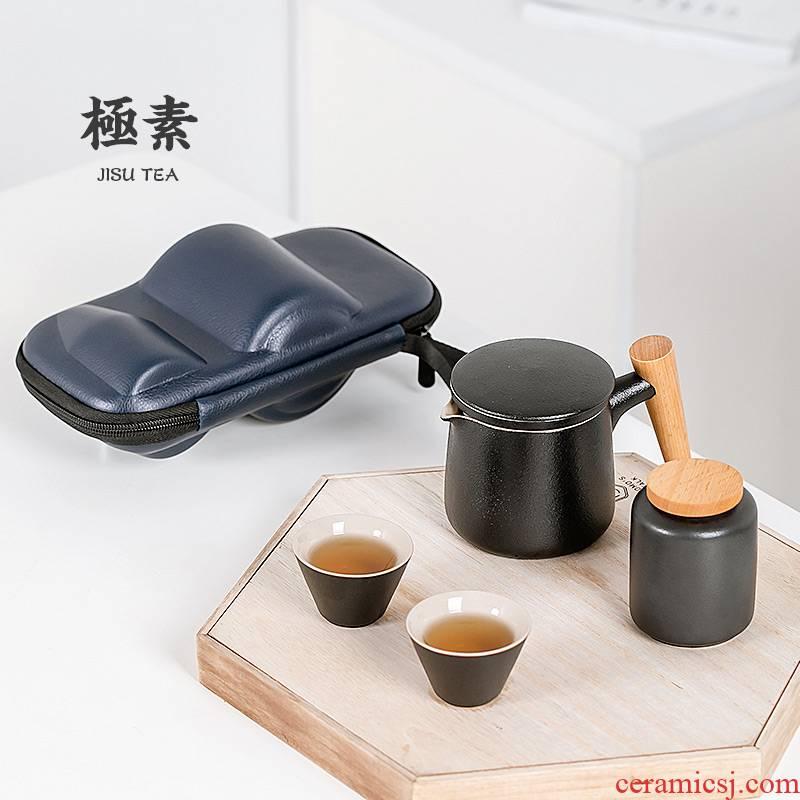Portable travel tea set porcelain crack cup simple household teapot teacup car is suing carry - on bag