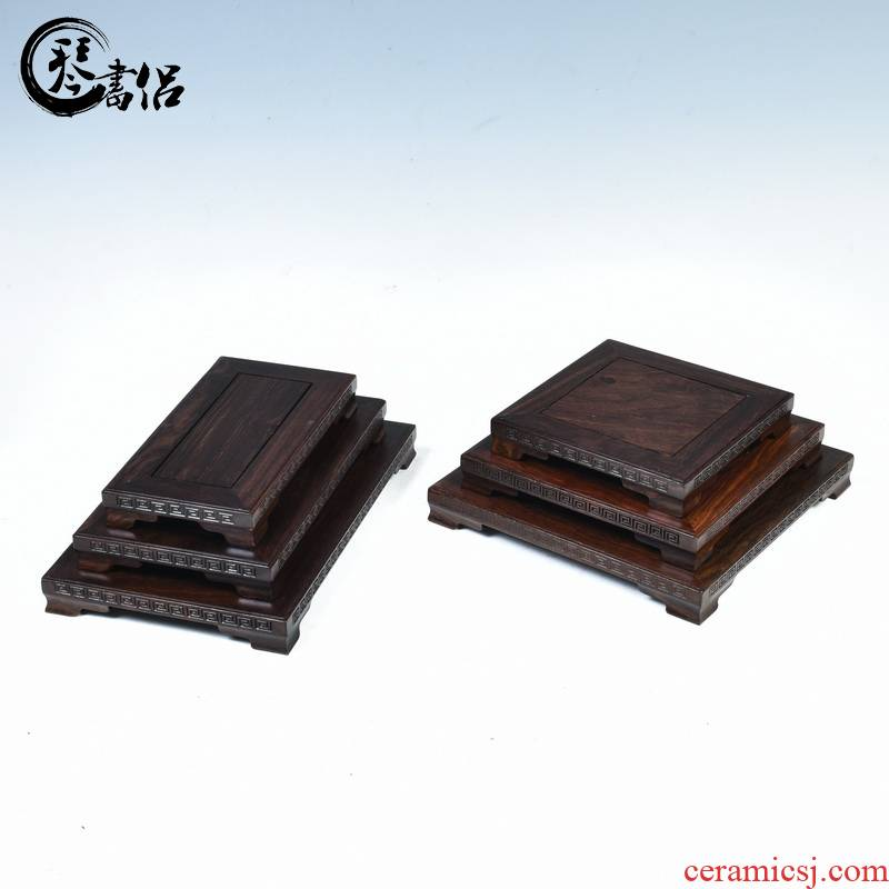 Ebony woodcarvings meander rectangle base small potted flower miniascape base base wood furnishing articles bracket square