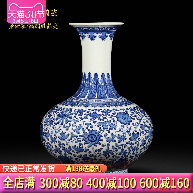 Jingdezhen ceramics hand - made archaize of blue and white porcelain vases, flower arrangement of new Chinese style living room TV ark, wine furnishing articles