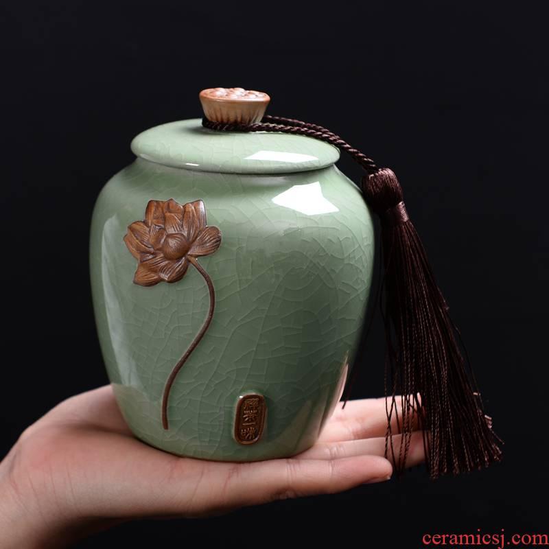 Elder brother up with ceramics pu 'er tea, green tea caddy fixings seal pot store fresh large half jins receives customization