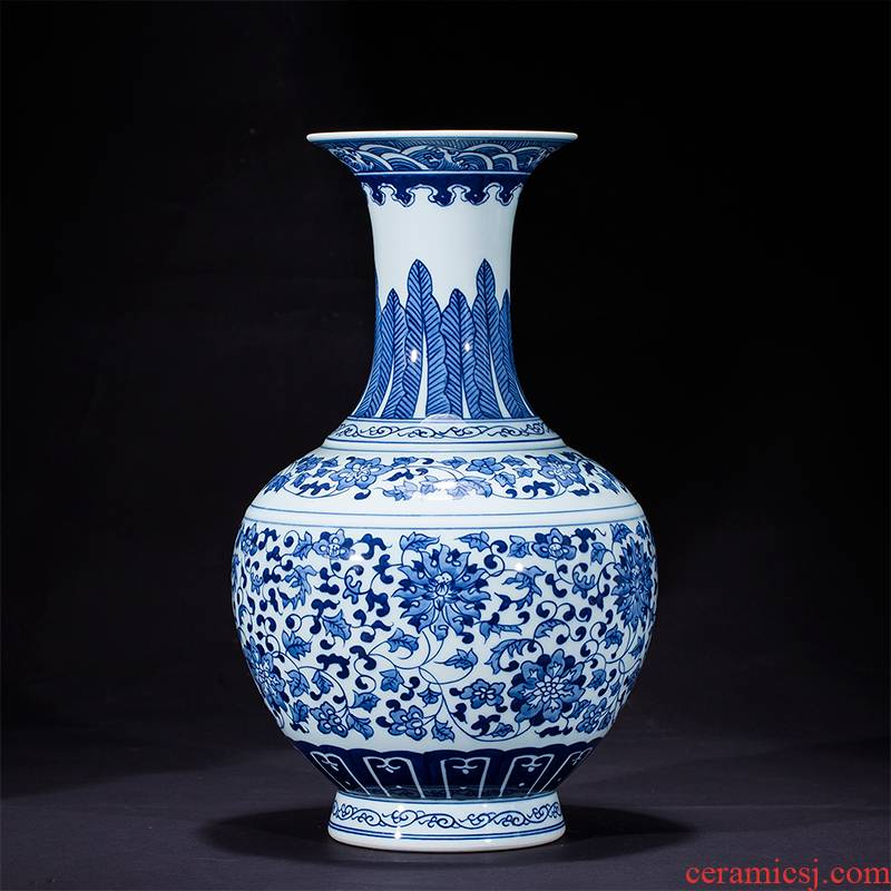 Blue and white porcelain of jingdezhen ceramics hand - made vases, flower arrangement home rich ancient frame sitting room adornment handicraft furnishing articles