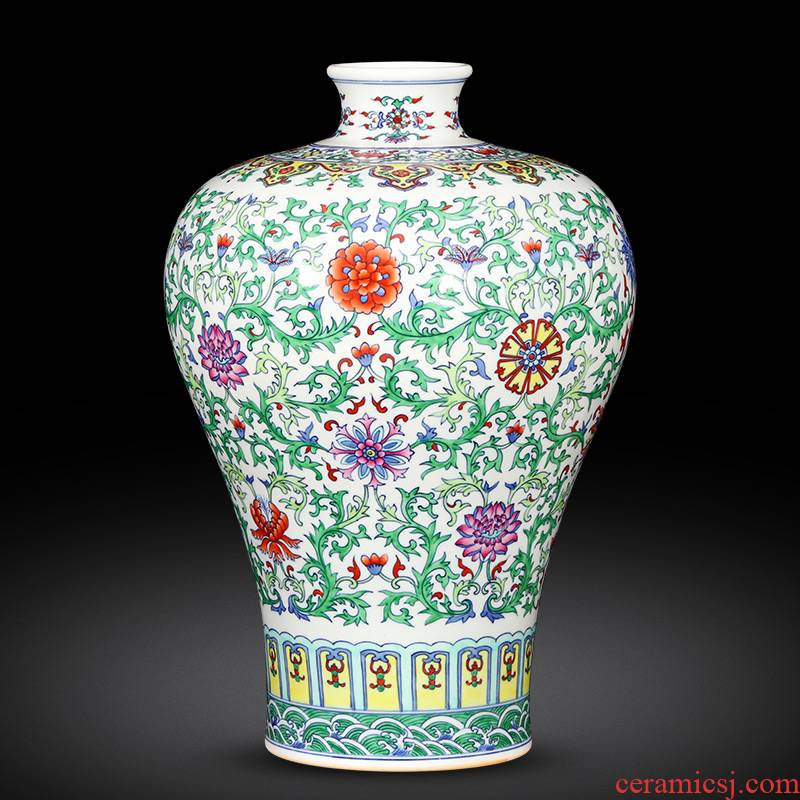 Jingdezhen ceramics vase furnishing articles imitation yongzheng hand - made color bucket mei bottles of Chinese style household adornment archaize sitting room