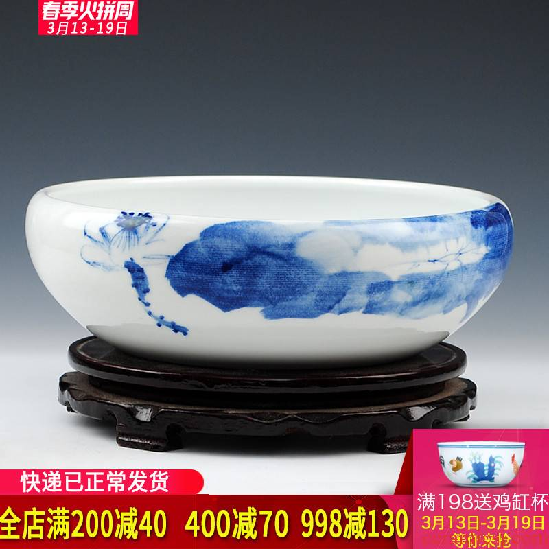 Blue and white hand draw freehand brushwork in traditional Chinese jingdezhen ceramics shallow goldfish GangPen refers to the lotus pond lily home furnishing articles