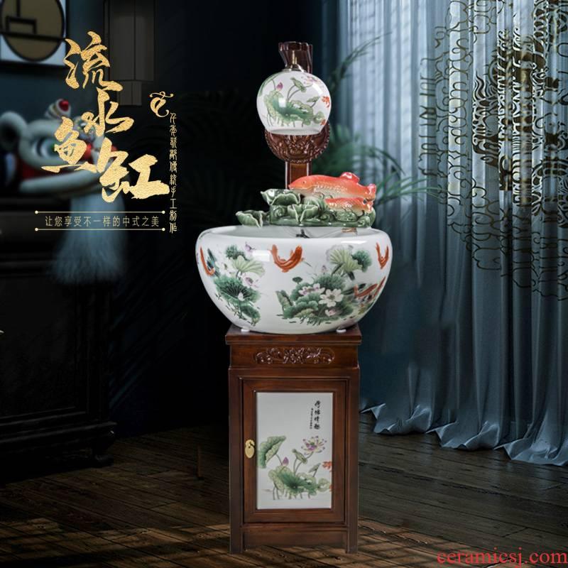 Jingdezhen ceramic sitting room place heavy tank circulation water filter to raise a goldfish bowl goldfish bowl lotus